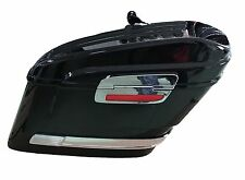 Alforjas rigidas para moto custom 43 litros color negro brillo reflector lateral