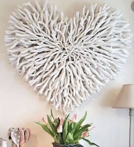 New Large White  Twig Heart Wall Hanging White Decoration