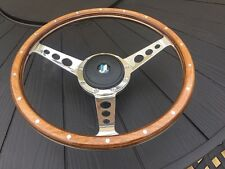 Triumph Tr6 Up To 76 Classic 14 Inch Semi Dish Woodrim Wheel And Pol Boss