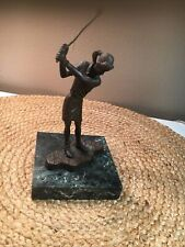Golf Female sculpture Bronze with Marble Base Andrea by Sadek