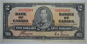 1937 BANK OF CANADA TWO DOLLARS H/R 8255264 COYNE-TOWERS BC-22c NOTE