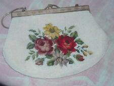 Vintage Petit Point & Beaded Handbag with Goldtone Metal Chain and Closure