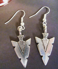 A Pair of Native American Style Arrow Head Charm Tibetan Silver Earrings, Karma