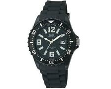 Q&Q Mens Sport Dive Style Calendar Strap Black A430J001Y Wristwatch New