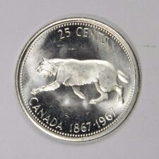 1867-1967 CANADA 25 CENTS - FLASHY LUSTER! SILVER - CLASSIC! INV#411