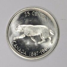 1967 CANADA 25 CENTS - FLASHY LUSTER! SILVER - CLASSIC! INV#411