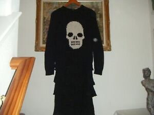 Autumn Cashmere Size XS-S Black Skull Theme Open Knit Women's Sweater