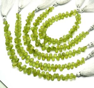 """Natural Gem Olive Green Rough Peridot 6x4 to 8x6MM Unpolished Pear Beads 7"""""""