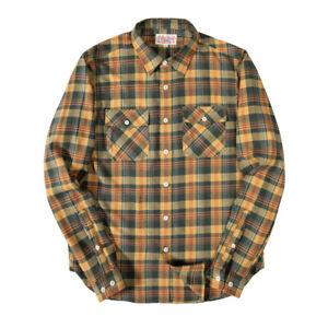 Red Tornado Yellow Mix Check Shirt For Men Spring Plaid Cotton Work Shirts