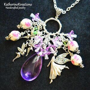 FAIRY Rhinestone FLOWERS 38mm Teardrop Glass Beads CHARM PENDANT NECKLACE