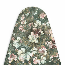 Encasa 100% Rich Cotton Fabric Ironing Board Cover 15 x 54 Inch, Green Roses