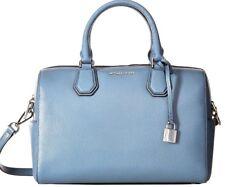 Michael Kors Denim Blue Leather Medium Mercer Satchel Duffle Bag NWT $298