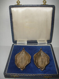 Vintage JB Chatterley & Sons Ltd sterling silver open salts leaf dish tray w box