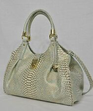 NWT Brahmin Elisa Satchel/Shoulder Bag in Opal Seville Snake Embossed Leather