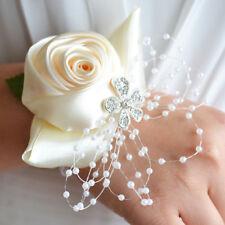 Flower Wrist Corsage Pearl Bead Bracelet Wedding Prom Party Bridesmaid Decor UK