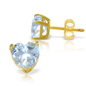 Genuine Aquamarine Heart Shape Gem Stud Earrings In 14K Yellow Gold