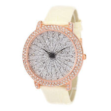 Alias Kim Crystal Face Round Shape White Leather Strap Lady Quartz Watch F231
