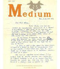 BEDOUIN Jean-Louis. Poète surréaliste. Lettre autographe à René Alleau, 1954 (Ré