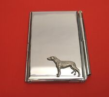 Greyhound Dog Motif on Chrome Notebook / Card Holder & Pen Christmas Gift