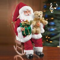 Musical Santa Claus In Rocking Chair Collectible Christmas Statue Plays 17 Songs