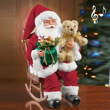 Musical Santa Claus With Presents In Rocking Chair Collectible Christmas Statue
