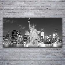 Glasbilder Wandbild Druck auf Glas 120x60 Freiheitsstatue New York Gebäude