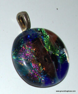 Artist Made Colorful Dichroic Fused Glass Pendant Layered Colors
