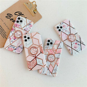 For Samsung S8 S9 S10 SE20 P40 Marble Phone Case With Ring Holder Soft TPU Cover
