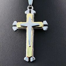 Silver Multi-Layered Cross Pendant Chain/Necklace w/Free Jewelry Box and Ship