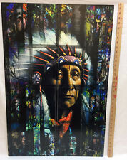 Native American Indian Chief Portrait Metal Art Picture 35x23 Signed Flores