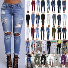 Fashion Women Skinny Stretch Ripped Jeans Distressed Denim Pants Jegging Trouser