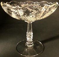 "CAMBRIDGE GLASS ETCHED COMPOTE NUT DISH ELAINE PATTERN VINTAGE 5 1/2"""