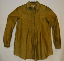 BURBERRY BRIT Womens Gold Cotton/Silk Long Sleeve Blouse Size XS  Button-Down