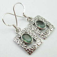 "ANTIQUE FEEL !! 925 Pure Silver OVAL GREEN APATITE HANDMADE Earrings 1.3"" NEW"