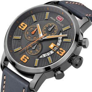 Herren Armbanduhr Analog Quarz Chronograph Uhr Leder Schwarz 3ATM wasserdicht