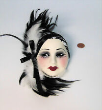 Fashion Decor LADY FACE MASK Wall Hanging Black & White Feathers Head Scarf USA!
