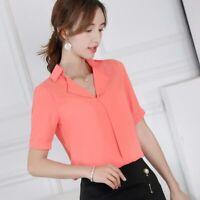 Chiffon Short Sleeve Women Fashion Shirt Loose T-Shirt Summer Ladies Top Blouse