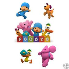 Pocoyo Logo and 4 Piece Set of Removable Wall Stickers with Elly, Loula, Pato
