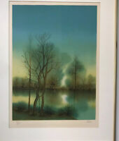 Limited Edition Lithograph Of Woods Scene By artist Pires. Framed And Signed