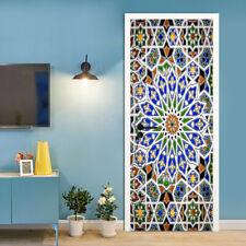 3D Kaleidoscope Removable Door Murals Wallpaper Wall Stickers for Bedroom Decor