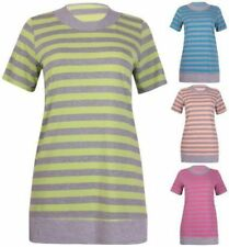 Plus Size Viscose Striped Short Sleeve Tops & Blouses for Women