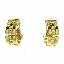 Auth Cartier Maillon Panthere 18K Yellow Gold Diamond Earrings