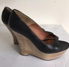 Lanvin Paris Black Leather Peep Toe Wood Wedge Shoes SZ 37