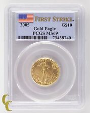 2005 Gold American Eagle G$10 1/4 Oz Graded by PCGS as MS-69 First Strike