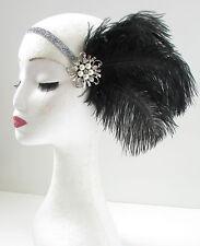 Schwarz & Silber Feder Perlen Kopfbedeckung Große Gatsby Flapper Stirnband 1920s