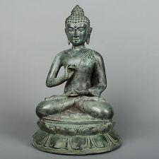 "Antique Thai Style Bronze Buddha Statue in Dharmachakra Teaching Mudra -26cm/10"""