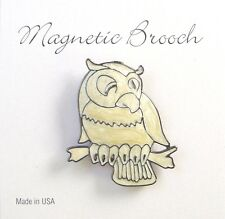 Magnetic Brooch Clip Clasp Pin Cream Enamel Owl Accessory Scarves Shawls