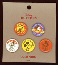 Disney Mickey Mouse 90th Anniversary Button set of 5 By Junk Food set c