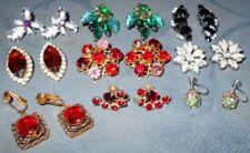 Great Variety  9 pair  Vintage  Designer Signed  Rhinestone Earrings  #Colors