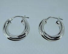1.8cm wide 4mm thick sterling silver twist Hoop earrings 2.43g